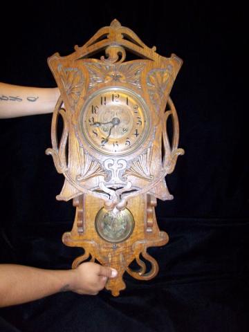 RARE Gustav Becker Art Nouveau Wall Clock Old World Antiques