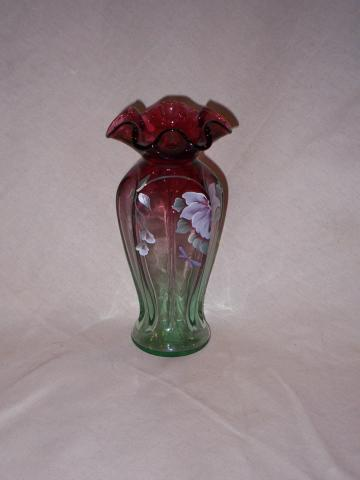 Fenton Cranberry To Green Painted Vase Jo 749 Old World Antiques
